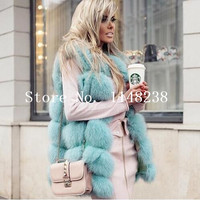 Vintage Women Real fur vests Gilets Customized PLUS SIZE genuine fur vest jackets Natural fox fur coats abrigo mujer