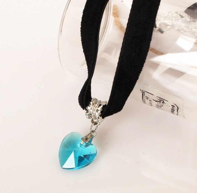 Японское бархатное ожерелье Япония Harajuku ретро европейский и американский кристалл в форме сердца кулон кружева черное ожерелье с сердечком