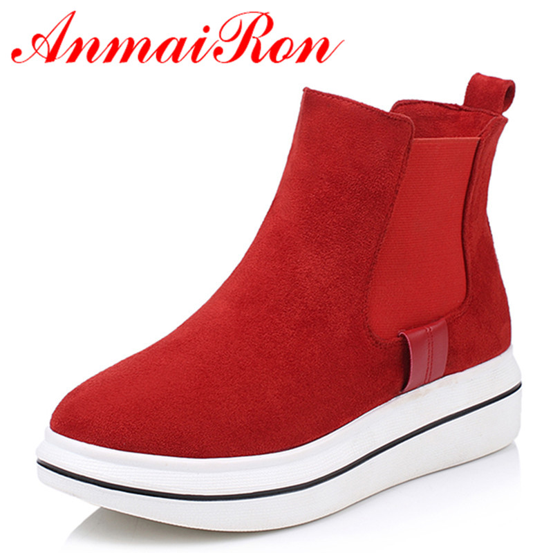 ANMAIRON Sexy Red Shoes Woman Low Heels Wedges Large Size 34-43 Platform Ankle Boots for Women Slip-on Round Toe Motocycle Boots enmayla ankle boots for women low heels autumn and winter boots shoes woman large size 34 43 round toe motorcycle boots