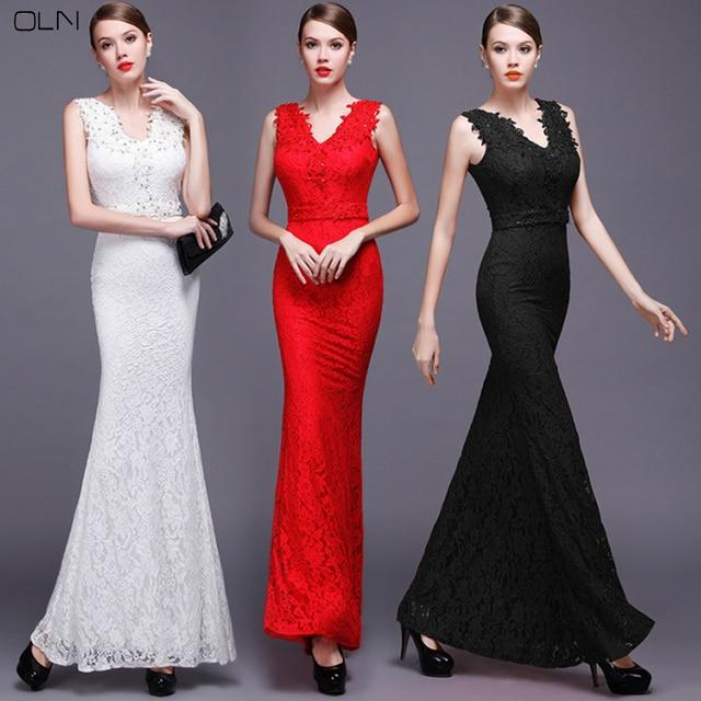 Oln Womans Elastic Lace Evening Party Dress Plus Size Women
