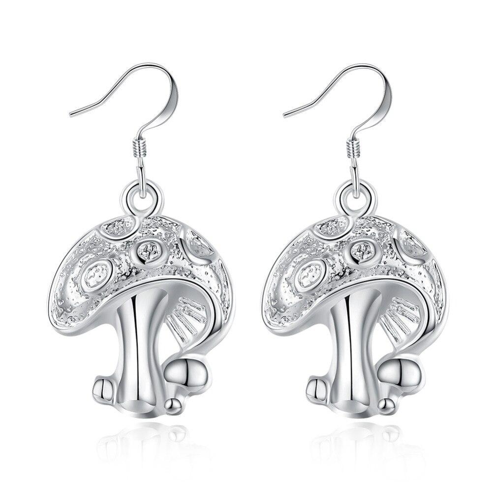 925 sterling silver adorável cogumelo pingente gota brinco gancho para mulheres menina fina moda trendy jewerly