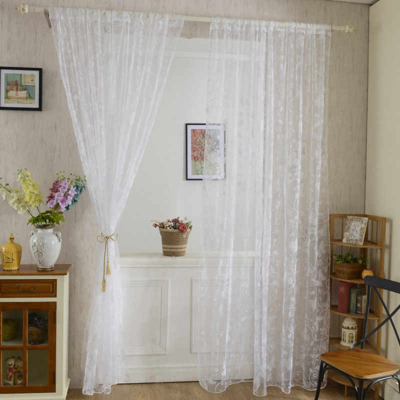 Home Door Drape Panel Scarf Sheer Voile Butterfly Flocked Yarn Window Curtain Decal Pink Curtain