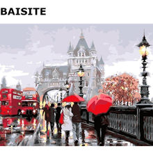BAISITE Frameless Picture DIY Oil Painting By Numbers Abstract Landscape Picture Canvas Painting For Living Room Wall Decor E587(China)