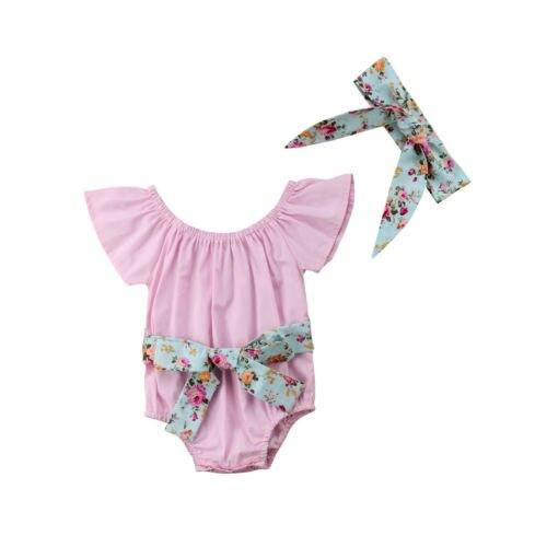 Симпатичные новорожденных Детская одежда для маленьких девочек цветок Боди Топы короткий рукав милый комбинезон одежда в загородном стиле...