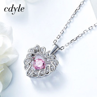 Cdyle Dancing Stone Necklace Women Pendants Charms S925 Sterling Silver Jewelry Fashion Elegant Heart Shape Chic