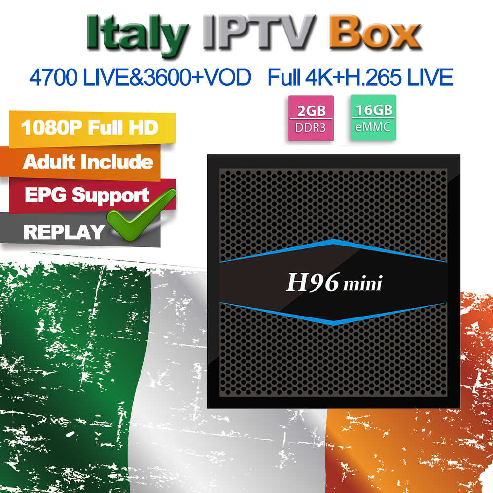 H96 Mini 6/12 Months 4800+ LiveTV M3U ENIGAM2 Andriod IPTV Italy German French Spain Arabic Turkey MEDIASET PREMIUM TV Box