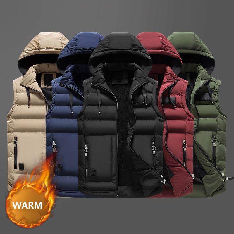 Winter Fashion Men Vest Stand Collar Hooded Coats Casual Thick Velvet Sleeveless Jackets Men Outwear Streetwear Warm Vest