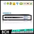 Caixa de metal Hi3521A XMeye 8 Channel 8CH 1080 P Full HD de Vigilância de Vídeo gravador de 5 em 1 Híbrido NVR CVI TVI AHD DVR Frete Grátis