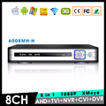 Metal Case Hi3521A XMeye 8 Channel 8CH 1080P Full HD Surveillance Video Recorder 5 in 1 Hybrid NVR TVI CVI AHD DVR Free Shipping