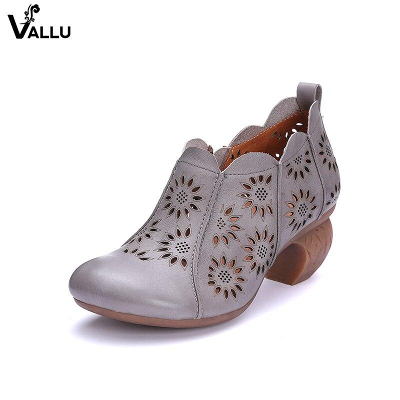 Block Heel Pumps Lady Original Leather Women's High Heel Shoes Fretwork Breathable Floral Comfort Female Classic Heeled Shoes цены онлайн
