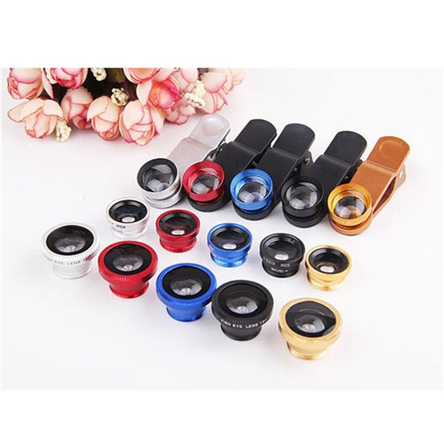 4 in 1 camera lens kit 2X telephoto lens +180 Fisheye Fish eye + Macro + 0.67X Wide angle Lens for iphone 6 Samsung HTC CL-85-2X 1