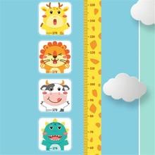 цена на 1PC Cartoon Tiger Cow Lion Dinosaur Height Measure Sticker For Baby Wall Decals Kindergarten Bedroom Living Room Decor 45*60CM