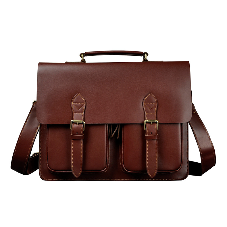 Men Quality Leather Antique Business Briefcase Handbag 14