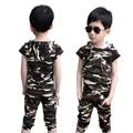 Мода мальчик камуфляж одежда дети короткий рукав Футболки + короткий набор детей мальчик наряды ребенок с капюшоном топ
