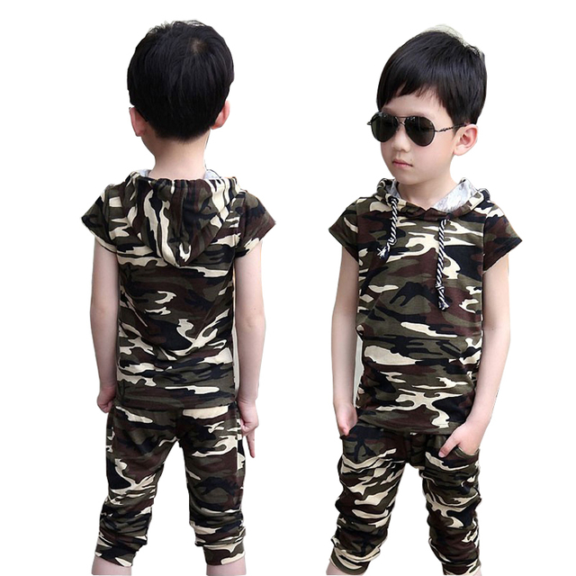 Fashion boy camouflage clothing children short sleeve T-shirt + short set kids boy outfits baby hooded top