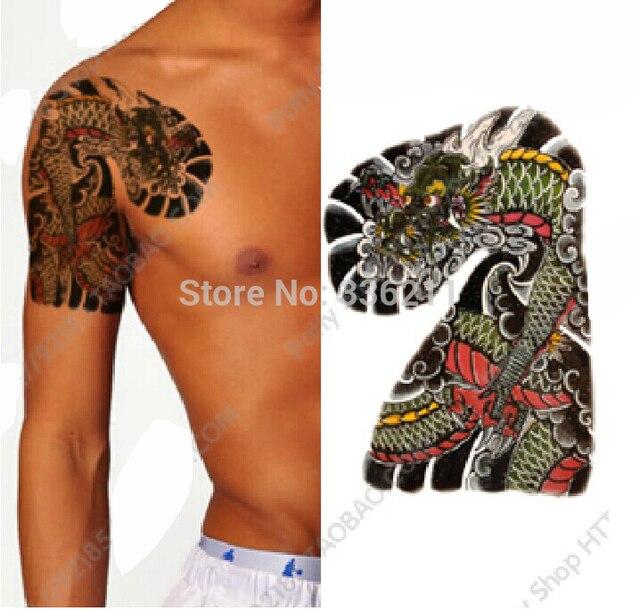 3 Pcs 2018 Grande Grande Preto Drago Desenhos Tatuagem Temporria Adesivos  Prova -7466