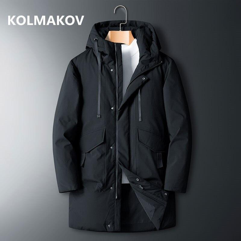 KOLMAKOV vêtements pour hommes blanc canard vers le bas hiver à capuche vestes d'hiver manteaux hommes décontracté epaissir vestes L-8XL