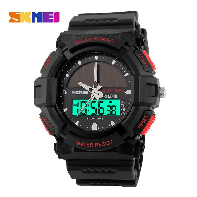 SKMEI Marca de lujo Deportivos Relojes de Cuarzo Reloj Multifuncional Digital de Energía Solar Impermeable Al Aire Libre Militar de Los Hombres Relojes de Pulsera