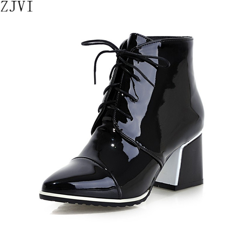 ФОТО ZJVI womens Patent PU Black White red women fashion boots winter autumn shoes woman Lace up sexy Pointed Toe ankle boots