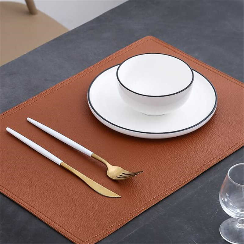 Round Oilproof Waterproof PU Leather Placemat Tableware Pad Table Mat