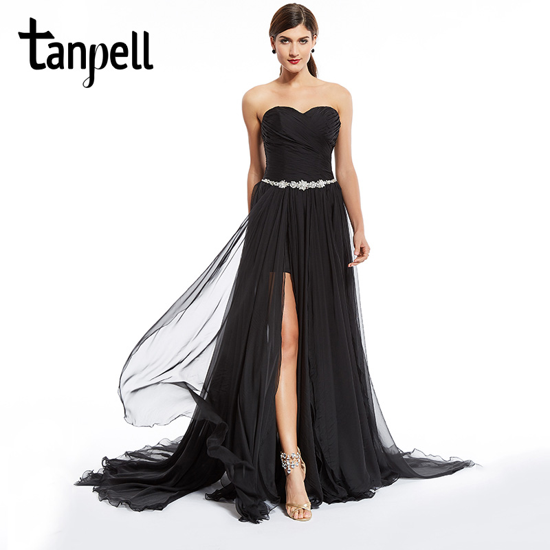Tanpell split front evening dresses sexy black strapless floor length dress watteau train ruched chiffon party long evening gown