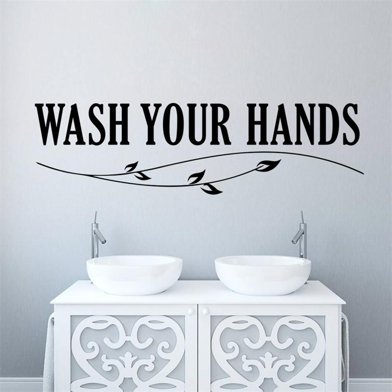 wash your hands toilet sticker quotes letter bathroom wash home