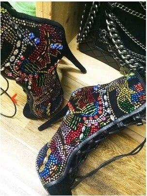Haute Cuir En Cristal Chaussons Bling Bottes Cheville Beige Sexy Chaussures Couleur À Mixte Véritable Lace Ouvert Femmes Talons up 2017 Bout Sandales Dame qZ68WE