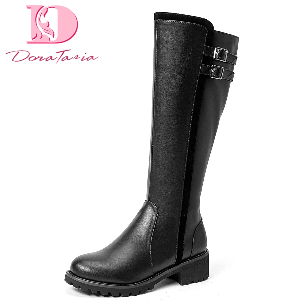 Doratasia 2018 Cow Leather Large Size 34-43 Zip Up Spring Autumn Boots Woman Shoes Square Heels mid-calf Boots Shoes Woman doratasia 2018 genuine leather zip up cow leather shoes woman martin boots chunky heels wholesale mid calf boots woman shoes