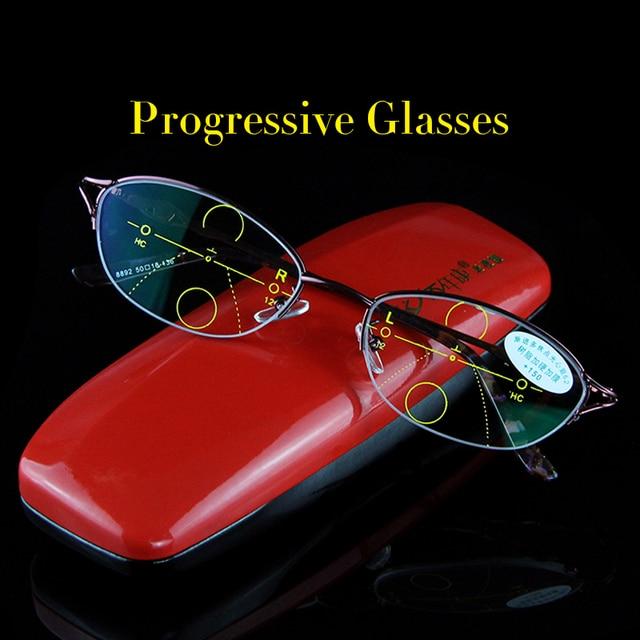 69fc9cd45f4 High Quality Progressive Reading Glasses Women Bifocal Lens Reader Multi- focal Addition Eyeglasses Half Frame Presbyopia 8892P