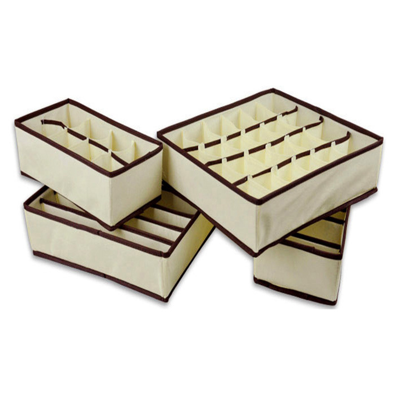 4 PCS Beige Home Storage Supply Storage Box Ties Socks Shorts Bra Underwear Storage  Bins Cube Divider Closet Organizer