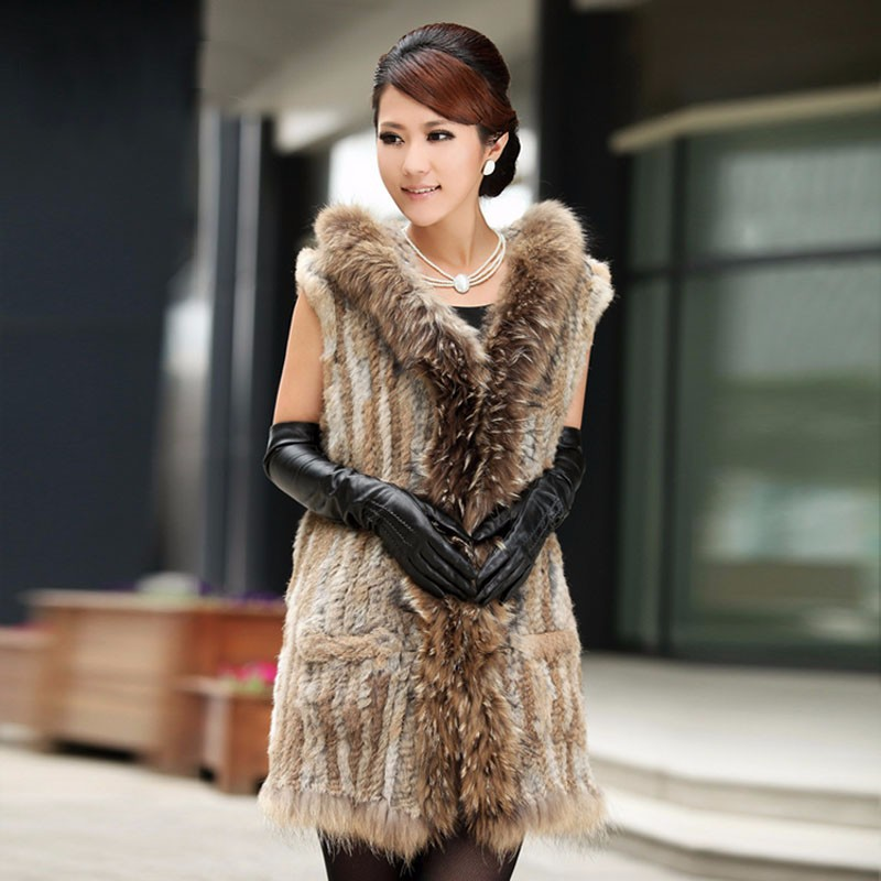 Winter Women Real Rabbit Fur Vest With Raccoon Fur Collar And Hood Long Style Genuine Fur Coat Female Casual Fur Clothing