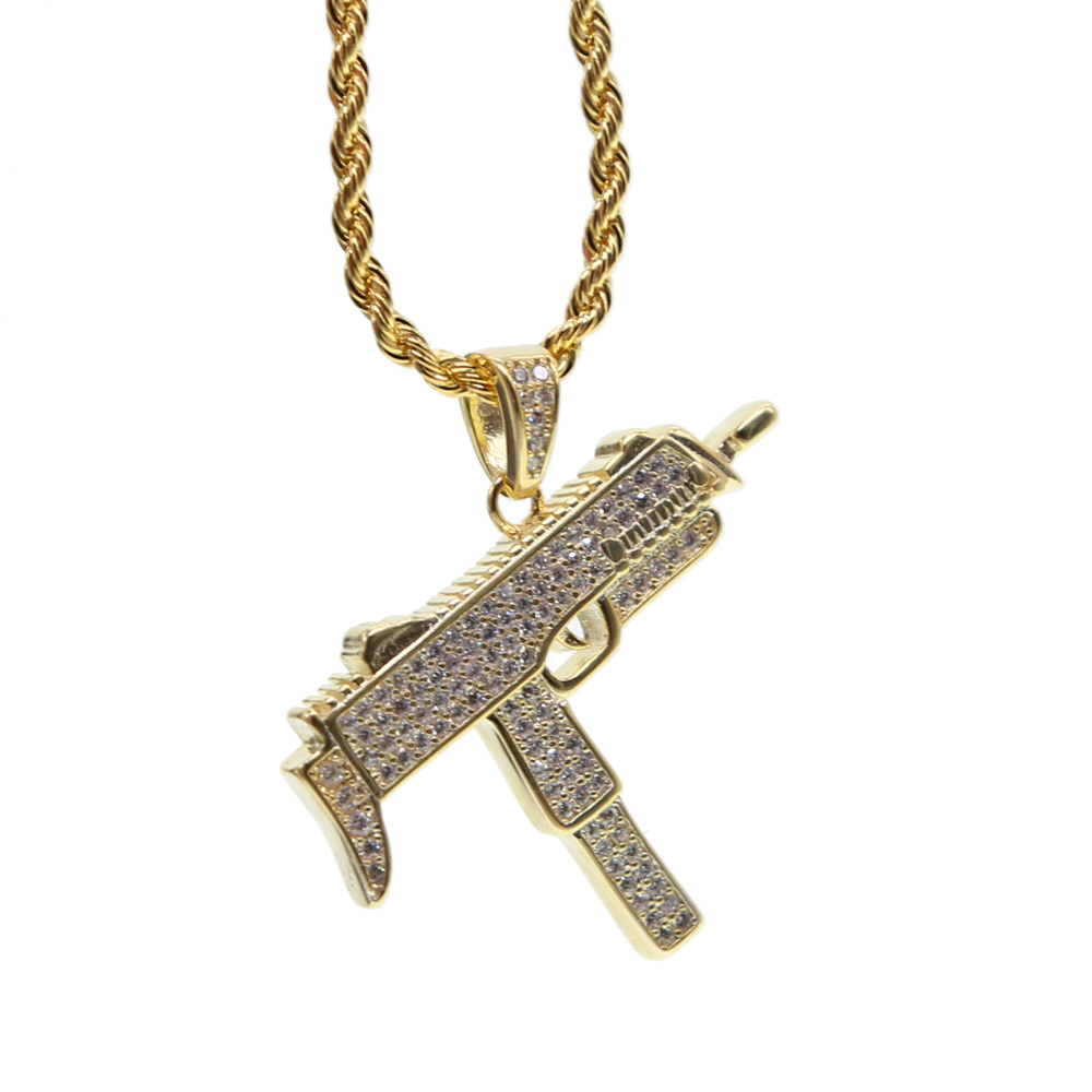 New CZ Stone hand Gun Pendant Necklace With 24