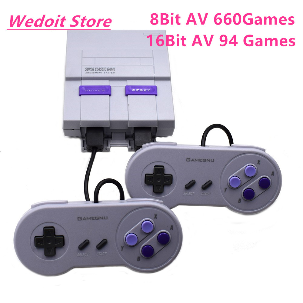 New Retro Super Classic Game Mini TV 8 Bit/16 Bit Family TV Video Game Console Built-in 94/660 Games Handheld Gaming Player Gift ...