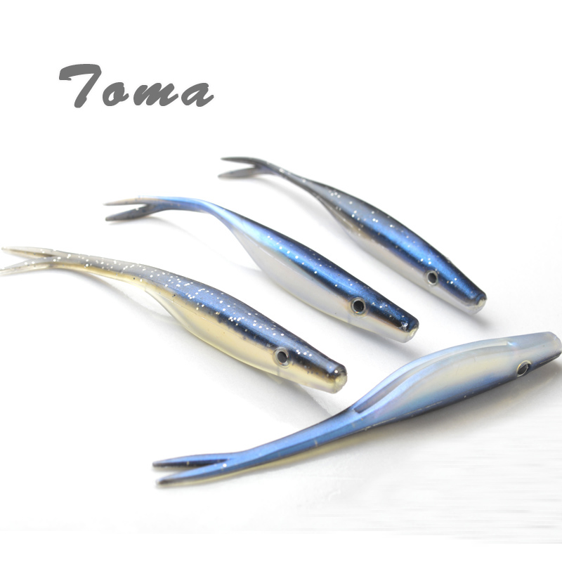 TOMA 4PCS/lot Soft Fish Fork Tail Fishing Lures Artificial Baits Double Color 6.5g 12cm Soft Lure Bionic Bait Fishing Tackle