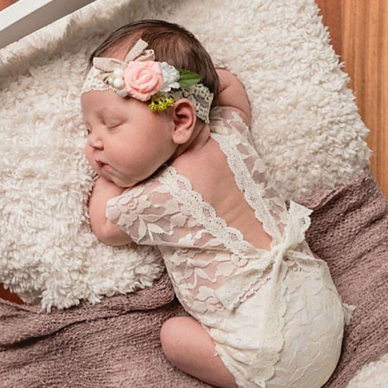 Newborn Photography Props Infant Costume Cute Princess jumpsuit toddler girl clothing Handmade Baby Girl lace Romper