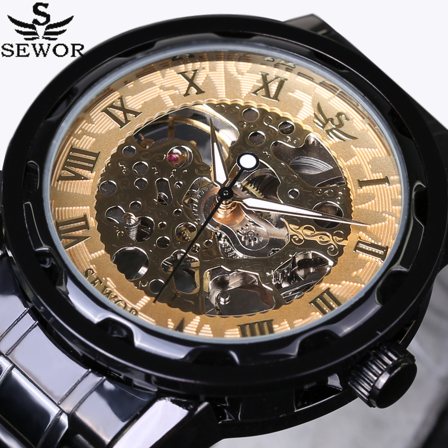 SEWOR Gold Men Skeleton Mechanical Watch Stainess Steel Steel Hand Wind Watches Transparent Steampunk Montre Homme Wristwatch ik colouring mechanical watch men skeleton automatic steampunk watch antique bronze retro gold montre homme wristwatch gift box