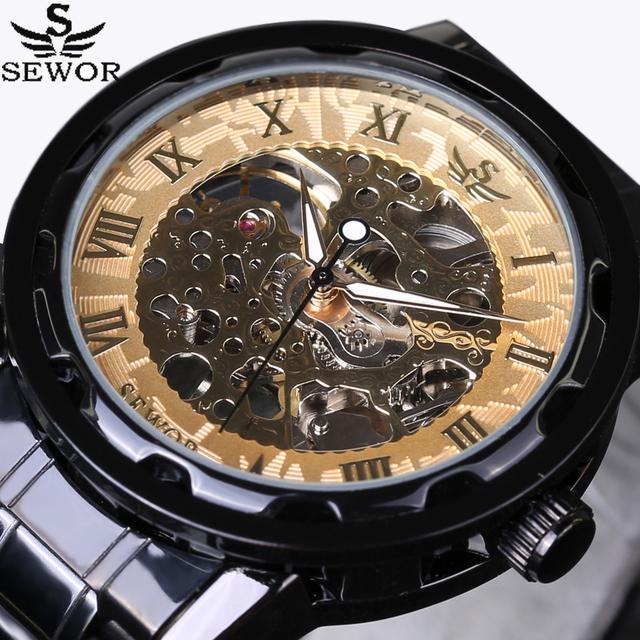 SEWOR Homens De Ouro Esqueleto Relógio Mecânico Vento Mão de Aço Stainess Aço Relógios Montre Homme relógio de Pulso Steampunk Transparente