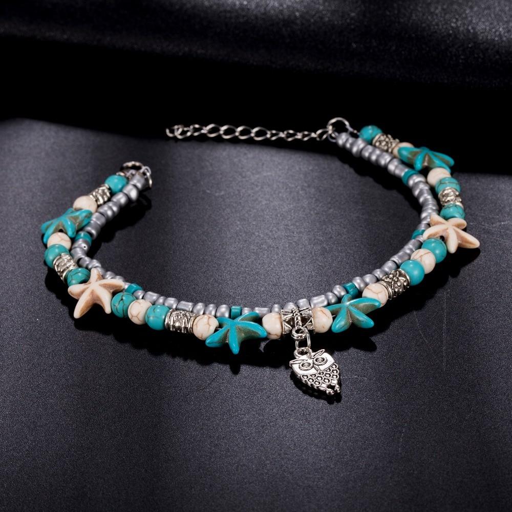 FAMSHIN Vintage Shell Beads Owl tobilleras para mujeres Nuevo Multi - Bisutería - foto 6