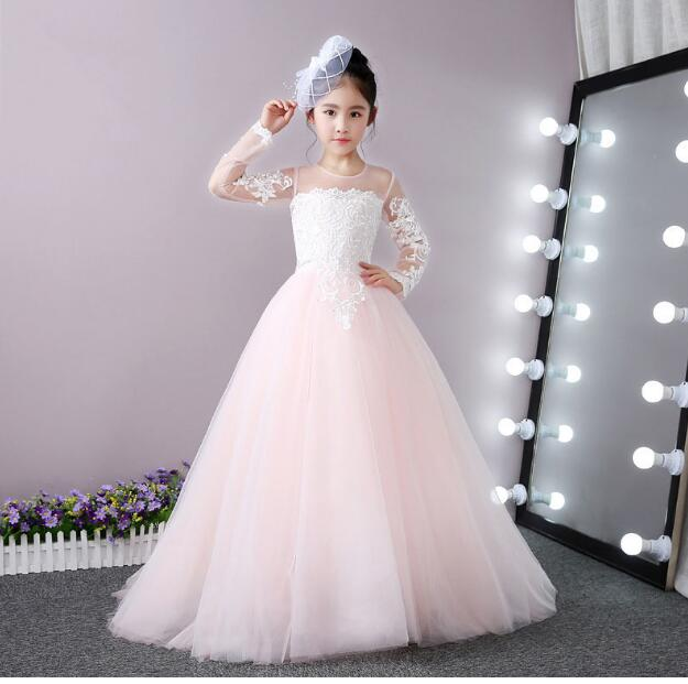 Girls Wedding Formal Dresses 2018 LongSleeve Tailing Gauze Birthday Ball Gown Flowers Girls Princess Dress Kids Prom Party Dress girls wedding formal dresses 2018 lace tailing catwalk gauze prom ball gown flowers girls princess dress kids long party dress