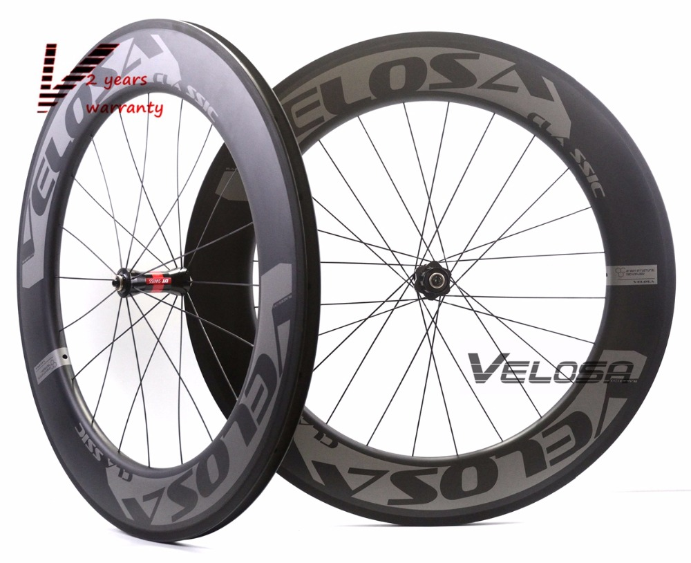 Velosa RACE 80 road bike 700C carbon wheels,88mm clincher/tubular,DT 240S hubs Sapim cx ray super light aero triathlon wheelset velosa supreme 50 bike carbon wheelset 60mm clincher tubular light weight 700c road bike wheel 1380g