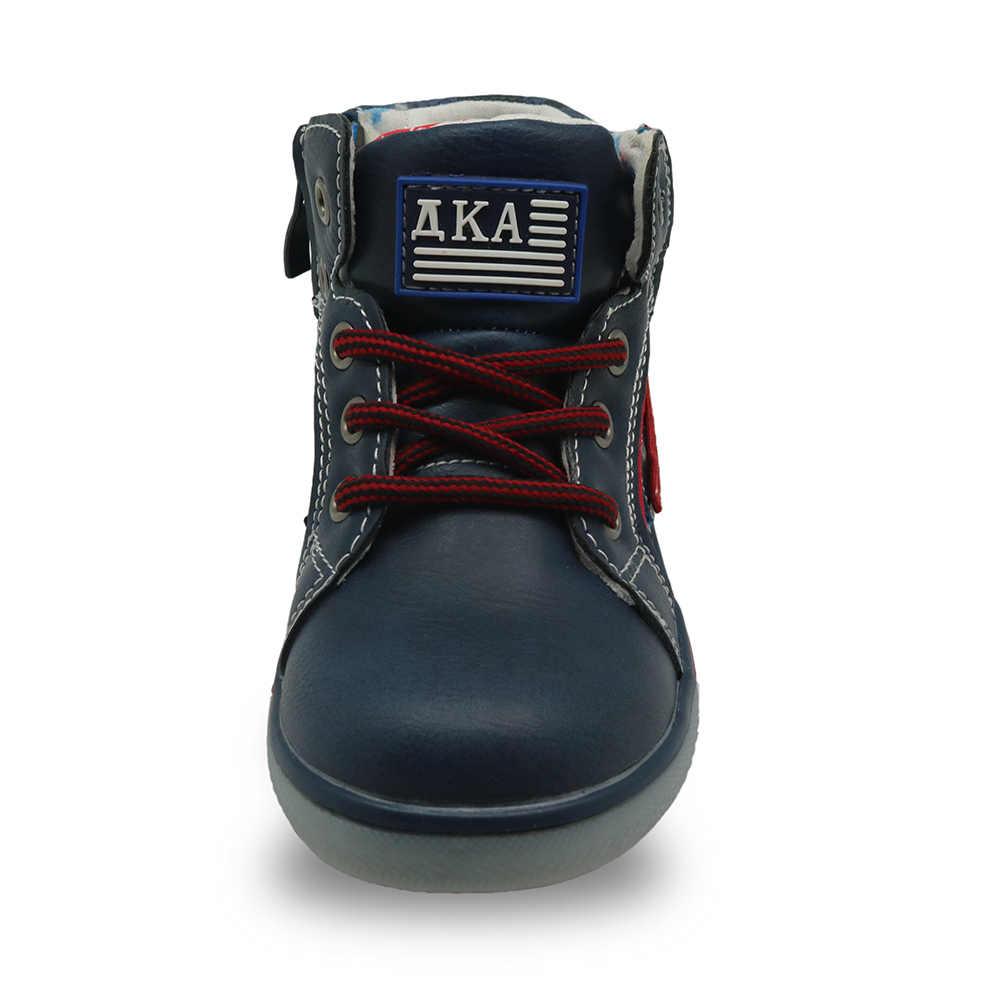 Apakowa Jongens Herfst Lente Enkellaars Peuter Kids School Sport Schoenen Lace-Up Motorlaarzen Met Rits Sneakers Voor jongen