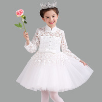 Chinese Style Lace Hollow Long Sleeves Flower Girls Dress Kids Toddler Birthday Party Dresses Children Special Clothes 4 12T