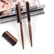 1PC Creative genuine three rows of hair comb the pig mane comb tip tail  wooden comb SE13