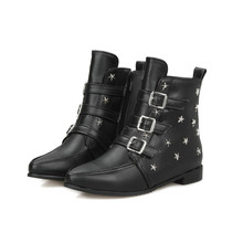 Vintage Style Flat Heel Lady Winter Winter Shoe PU Leather Women Ankle Boot Woman Motorcycle Boot Black Shoe Size 34-43
