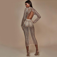 Sexy Backless Women Cover Up Dress Night Club Wear Maxi Summer Dress Sexy Hollow Out Club Bodycon Party Dresses Casual Vestido
