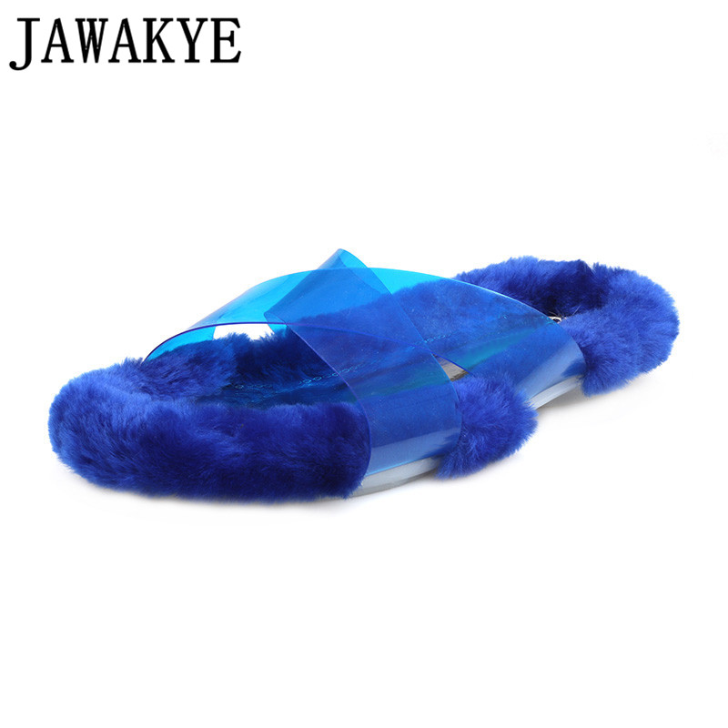 2018 newest candy color sandals women transparent clear PVC outdoor slippers flat heel summer Fall lambs fur shoes for ladies