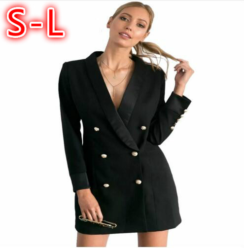 Automne Europe Pour Manteau Costume Blazer Blazers Veste Femmes Formelle Printemps Breasted blanc Noir Robe Double Boutons 2017 Dames Or Mujer tqWO7zP