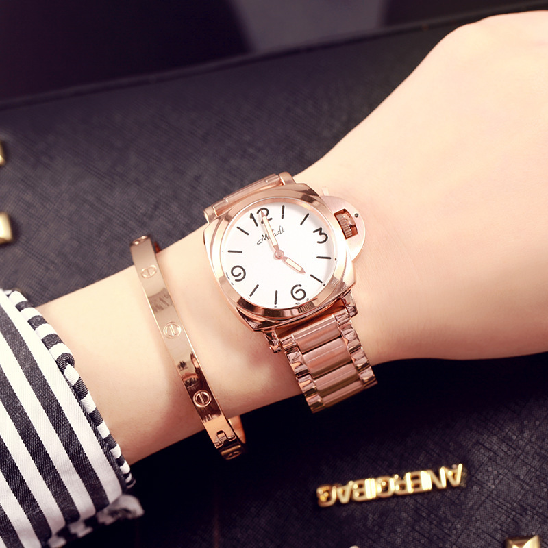 Simple and fashionable womens watch Round fashion quartz steel belt waterproof femaleSimple and fashionable womens watch Round fashion quartz steel belt waterproof female