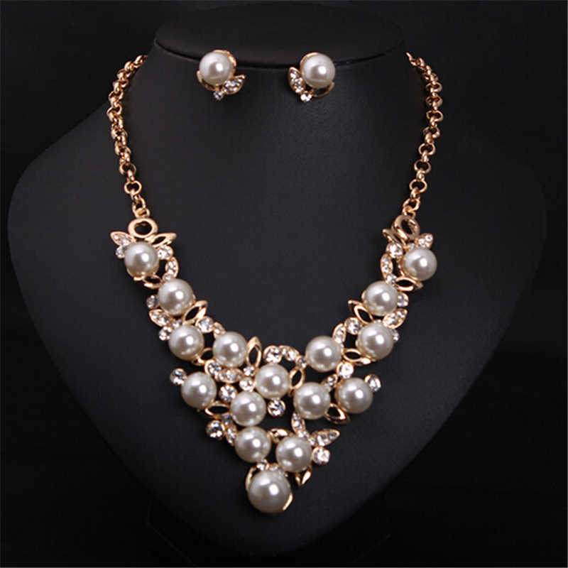 ZOSHI Fashion Simulated Pearl Bridal Jewelry Sets Silver Gold Chocker Necklace Set Wedding Jewelry Parure Bijoux Femme Flower