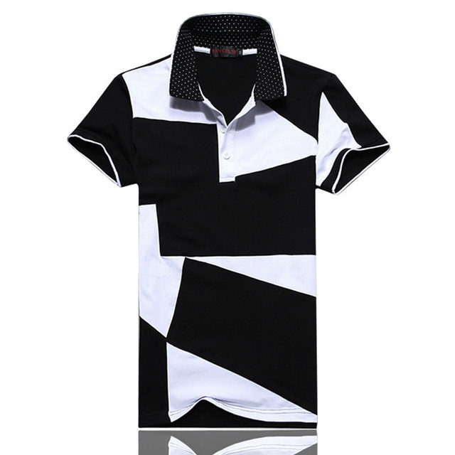 New Fashion Men's Polos Summer Black And White Stitching Short Sleeve Polo Men Slim Fit Mens Casual Cotton Polo Shirts 5XL 6XL